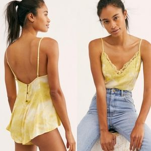 Free people Luella yellow tie dye bodysuit XS lace